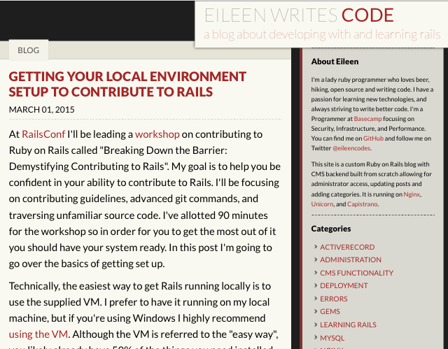 eileen codes | Website Redesign with Jekyll and Github Pages